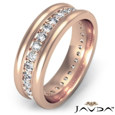 Pave Set Diamond Eternity Men's Wedding Band Round Edges 18k Rose Gold  (1Ct. tw.)