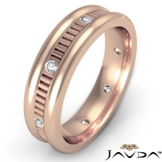 Vertical Cut Round Edge Diamond Eternity Men's Wedding Band 18k Rose Gold  (0.16Ct. tw.)