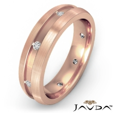 Men's Diamond Eternity Wedding Band Brushed Finish Sides 18k Rose Gold  (0.16Ct. tw.)