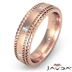 Carved Step Edge Men's Diamond Eternity Wedding Band in 18k Rose Gold  (0.15Ct. tw.)
