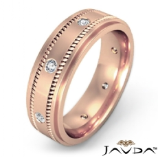 Milgrain Step Edge Diamond Eternity Men's Wedding Band 14k Rose Gold  (0.15Ct. tw.)