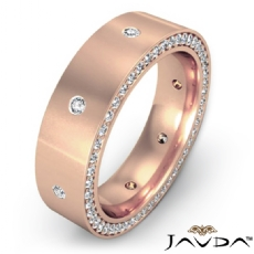 Side Diamond Eternity Satin Finish Men's Wedding Band in 14k Rose Gold  (1.25Ct. tw.)