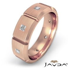 Diamond Eternity Men's Wedding Band in 14k Rose Gold Matte Comfort Fit  (0.5Ct. tw.)