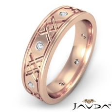 Round Edges Diamond Eternity Men's Wedding Band XO Style 14k Rose Gold  (0.16Ct. tw.)
