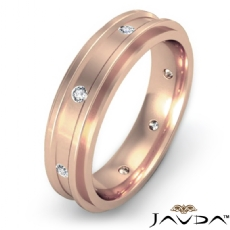 Polished Step Edge Diamond Eternity Men's Wedding Band in 14k Rose Gold  (0.2Ct. tw.)
