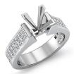 2.25Ct Princess Invisible Set Diamond Engagement Semi Mount Ring 14k White Gold - javda.com