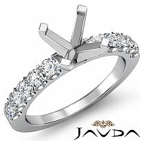 0.75Ct Prong Set Round Diamond Engagement Semi Mount Ring Setting 14k White Gold