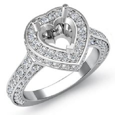 1.60Ct Diamond Engagement Ring Heart Semi Mount Halo Pave Setting 14k White Gold