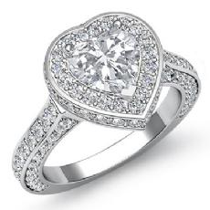 Sidestone Halo Filigree Heart diamond engagement Ring in 14k Gold White