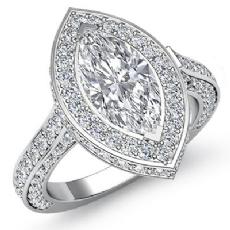 Circa Halo Pave Set Filigree Marquise diamond engagement Ring in 14k Gold White