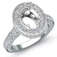 1.60Ct Halo Pave Setting Diamond Engagement Oval Semi Mount Ring 14K White Gold