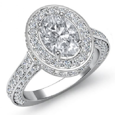 Heirloom Halo Pave Filigree Oval diamond engagement Ring in 14k Gold White