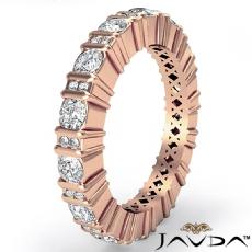 Round Cut Bar Set Diamond Eternity Wedding Band 14k Rose Gold Women Ring  (1.8Ct. tw.)