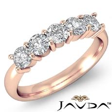 5 Stone Round Prong Diamond Women's Half Wedding Band 14k Rose Gold Ring  (0.5Ct. tw.)