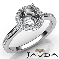 Halo Pave Setting Diamond Engagement Round Semi Mount Ring Platinum 950 (1Ct. tw.)