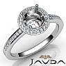 1Ct Halo Pave Setting Diamond Engagement Round Semi Mount Ring 14K White Gold