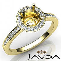 Halo Pave Setting Diamond Engagement Round Semi Mount Ring 14k Gold Yellow (1Ct. tw.)