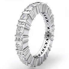 Round Cut Bar Set Diamond Eternity Wedding Band 14k White Gold Women Ring 1.8Ct