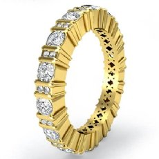 Round Cut Bar Set Diamond Eternity Wedding Band 14k Gold Yellow Women Ring  (1.8Ct. tw.)