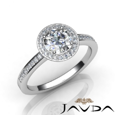 4 Prong Halo With Sidestone Round diamond engagement Ring in 14k Gold White