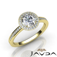 4 Prong Halo With Sidestone Round diamond engagement Ring in 18k Gold Yellow