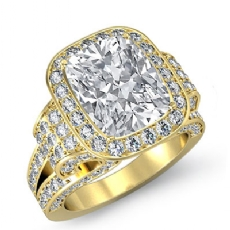 Antique Vintage Halo Pave Set diamond Ring 14k Gold Yellow