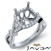 Round Halo U Cut Prong Diamond Engagement Ring Semi Mount 14k White Gold 0.9Ct - javda.com