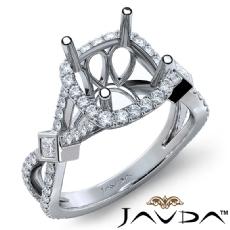 Round Halo U Cut Prong Diamond Engagement Ring Semi Mount 14k White Gold 0.65Ct