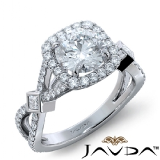 Bezel Cross Shank Halo Pave Round diamond engagement Ring in 14k Gold White