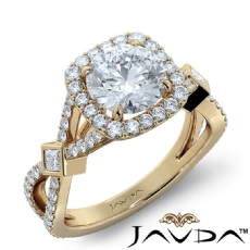 Bezel Cross Shank Halo Pave Round diamond engagement Ring in 14k Gold Yellow