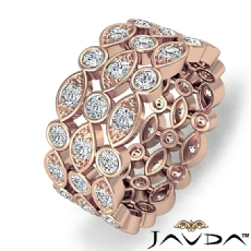 Pave Bezel Diamond Women's Anniversary Eternity Band 14k Rose Gold 8.7mm Ring  (1.3Ct. tw.)