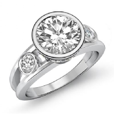 Bezel Setting Three Stone Round diamond engagement Ring in 14k Gold White