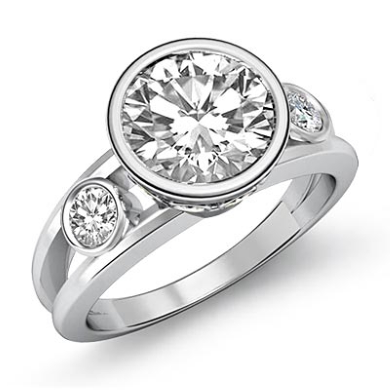 Bezel Setting Three Stone Round Diamond Engagement Ring 14k White Gold 1 4ctw