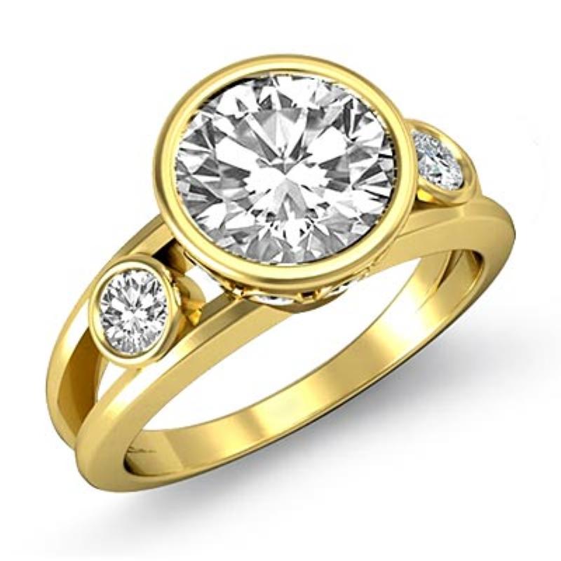Bezel Setting Three Stone Round Diamond Engagement Ring 18k Yellow Gold 1 4ctw