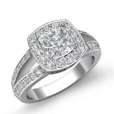 Filigree Halo Pave Side Stone Cushion diamond engagement Ring in 14k Gold White