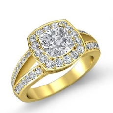 Filigree Halo Pave Side Stone Cushion diamond engagement Ring in 14k Gold Yellow