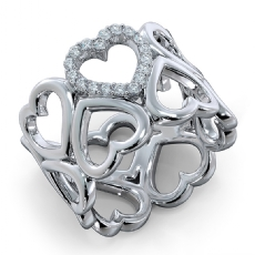 Round Diamond U Shape Prong Set 14k White Gold Engagement Heart Ring 0.15Ct.