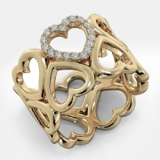 Round Diamond U Shape Prong Set 18k Gold Yellow Engagement Heart Ring  (0.15Ct. tw.)
