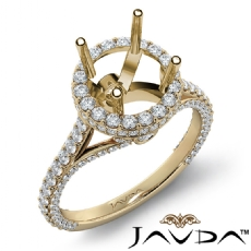 Round Diamond Engagement 14k Gold Yellow Halo U Shape Cut Semi Mount Ring  (1.3Ct. tw.)