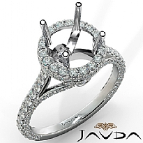 Round Diamond Engagement 14K White Gold Halo U Shape Cut Semi Mount Ring 1.26Ct