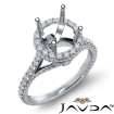Round Diamond Engagement 14k White Gold Halo U Shape Cut Semi Mount Ring 1.3Ct - javda.com