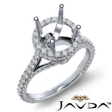 Round Diamond Engagement 18k Gold White Halo U Shape Cut Semi Mount Ring  (1.3Ct. tw.)