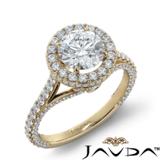 Peekaboo Accent Circa Halo Round diamond engagement Ring in 14k Gold Yellow