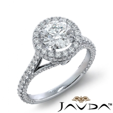 Accent Bridge Halo Bezel Round diamond engagement Ring in 14k Gold White
