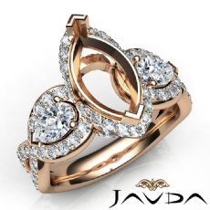 Three 3 Stone Diamond Anniversary Pear Marquise Semi Mount Ring 14k Rose Gold  (1.4Ct. tw.)