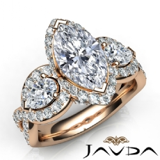 Three Stone Cross Shank Marquise diamond engagement Ring in 14k Rose Gold