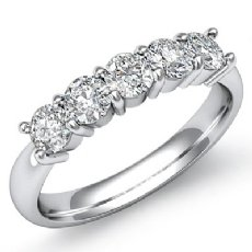 5 Stone Round Prong Diamond Women's Half Wedding Band Platinum 950 Ring  (0.5Ct. tw.)