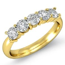 5 Stone Round Prong Diamond Women's Half Wedding Band 14k Gold Yellow Ring  (0.5Ct. tw.)