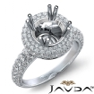 Halo Pave Set Diamond Engagement Round Semi Mount 14k White Gold Ring 1.25Ct - javda.com