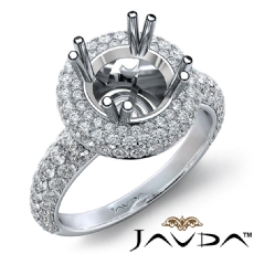 Halo Pave Set Diamond Engagement Round Semi Mount 14K White Gold Ring 1.24Ct.